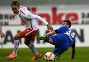 26 Feb 2016, Paderborn, Rhineland, Germany --- Leipzig's Yussuf Poulsen (l) and Paderborn's Robin Krausse in action during the 2nd Bundesliga soccer match between SC Paderborn 07 and RB Leipzig at Benteler-Arena in Paderborn, Germany, 26 February 2016. Photo: Jonas Guettler/dpa (ATTENTION: Due to the accreditation guidelines, the DFL only permits the publication and utilisation of up to 15 pictures per match on the internet and in online media during the match.) --- Image by © Jonas Güttler/dpa/Corbis